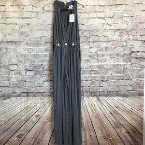 New ECI New York Medium Jumpsuit Gray Embellished